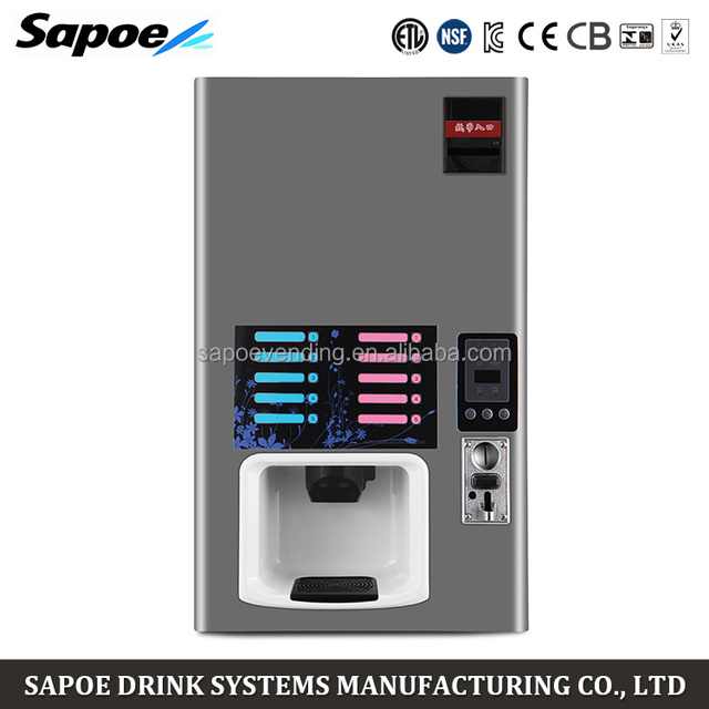 Sapoe 5 hot and 5 cold commercial automatic coin operated coffee vending machine