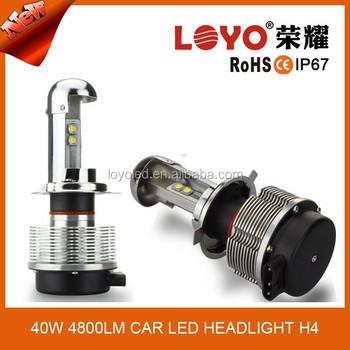 High Low Beam Auto Lights H4 Led Headlight Bulb 40w Power Output ...