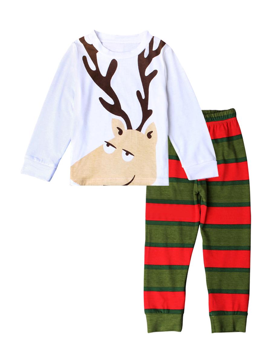 018249bf0e51 Xmas Kids Baby Boy Girl Santa Claus Reindeer Long Sleeve Cotton ...