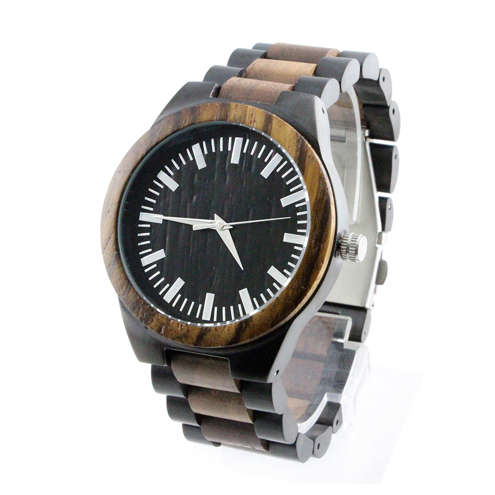 2019 Waterproof Wood Watch Stainless Band Wood And Steel Watch, Maple/black/red/green/zebra/bamboo and stainless