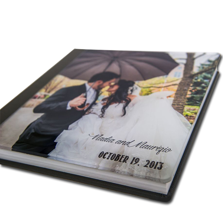 hot sale professional manufacturer leather glass cover layflat photo book
