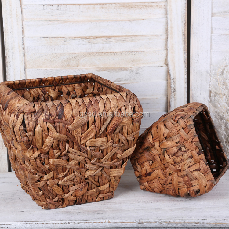 Indoor Planters Natural Water Hyacinth Woven Plant Basket