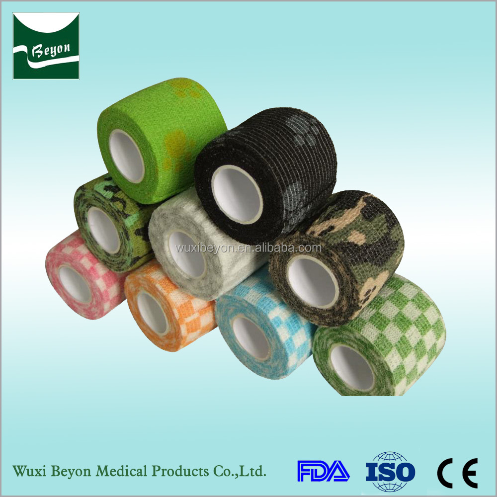 Wholesales customized top quality elastic printed oem color vet wrap