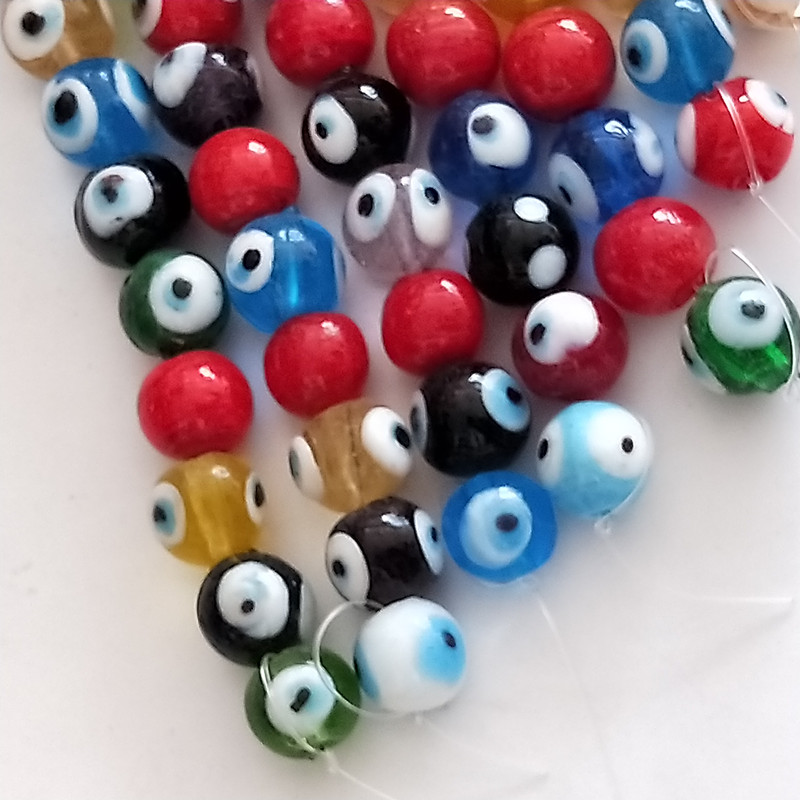 Colorful blue beads of turkey evil eyes for necklace