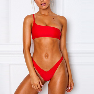 Open Sexy Girl Full Photo One Shoulder Strap Bikini High Waisted Thong Bikinis Girl Swimwear