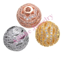 wholesale brass copper gold plated round ball shaped micro pave cz beads bracelet jewelry