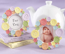 """Cute as a Button"" Round Photo Frame / Placecard Frame"