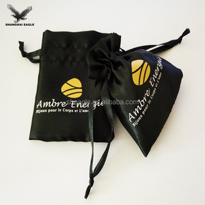 High quality small drawstring jewelry satin pouch bag with logo printing