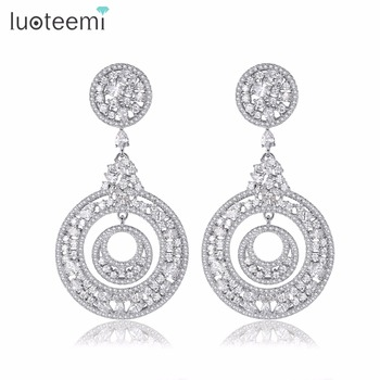 LUOTTEMI Silver Color New Fashion Charm Hollow Circle CZ Zircon Gem Stone Dangle Earrings For Women Jewelry Brincos Bijoux
