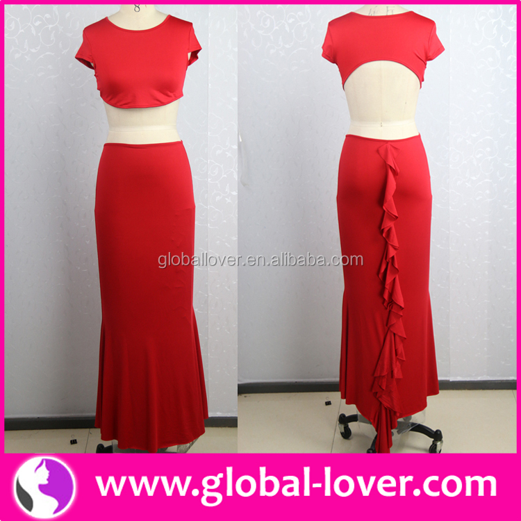 New design red two piece navel revealing women party dress