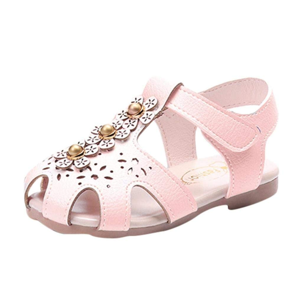 98b3cd58c7786 Get Quotations · WOCACHI Baby Girls Shoes Sandals for Baby Girls Children  Floral Pearls Flat Pricness Beach Shoes