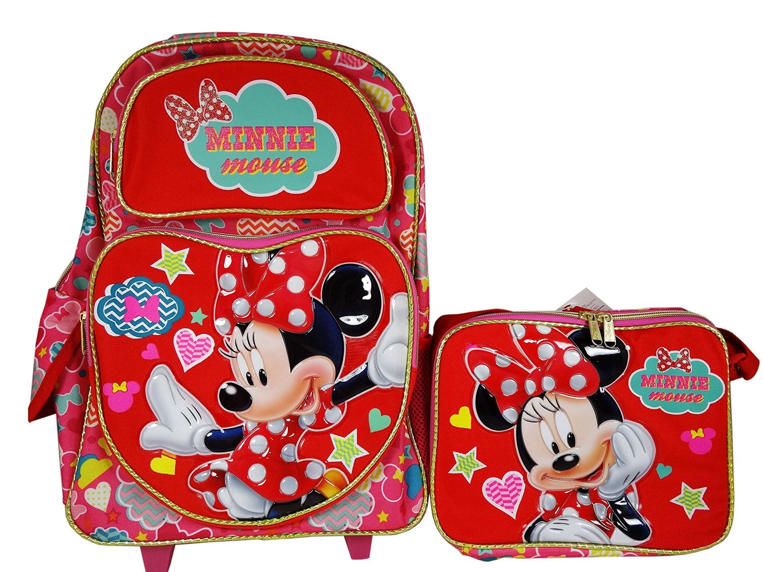 f1d402724e Get Quotations · Disney Minnie Mouse Pretty Thing Rolling Backpack and  Lunch bag Combo set.