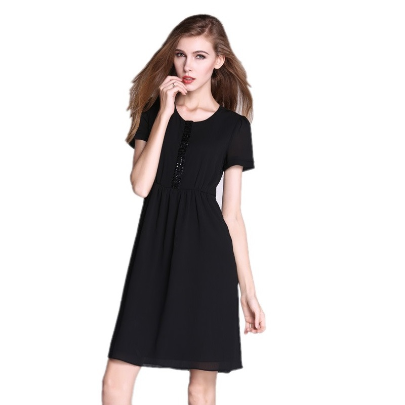 Plus Size Dress Women Decorative Beading Design Solid Black Loose Dress 2015 Summer Fashion Breathable Casual Dress 5XL 6XL 7XL