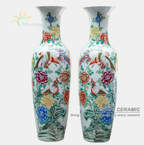 Chinese hand painted flower famille rose antique ceramic tall floor vases