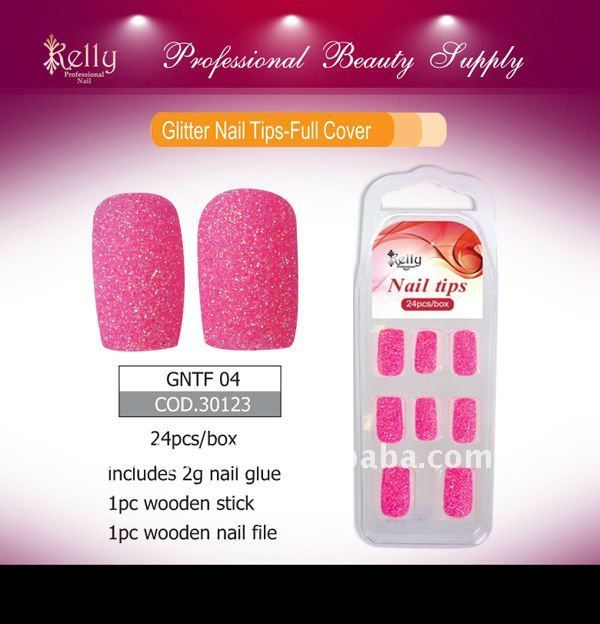 pink Colored Glitter Nail Tips