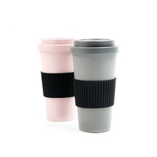 도매 100% Natural Bamboo 섬유 Coffee 컵 with Screw Lid 및 스토퍼