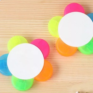 Plastic Flower Petal Highlighter 6 Colour Marker Pen Multi Color Highlighter