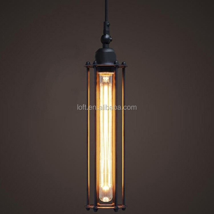 <strong>Industrial</strong> black long cylindrical pendant lamp classics vintage edison style light bulb