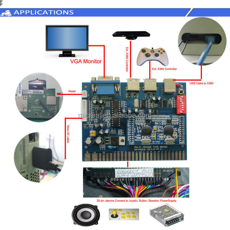 Durable jamma board for XBOX360 arcade game/coin machines