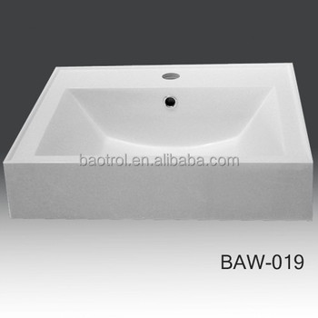 Counter Top Modern Solid Surface Bathroom Vanity Wash Hand Basin Sink