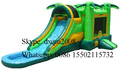 Tropical New design inflatable jumping bouncy house water slide combo outdoor playground slide for kids