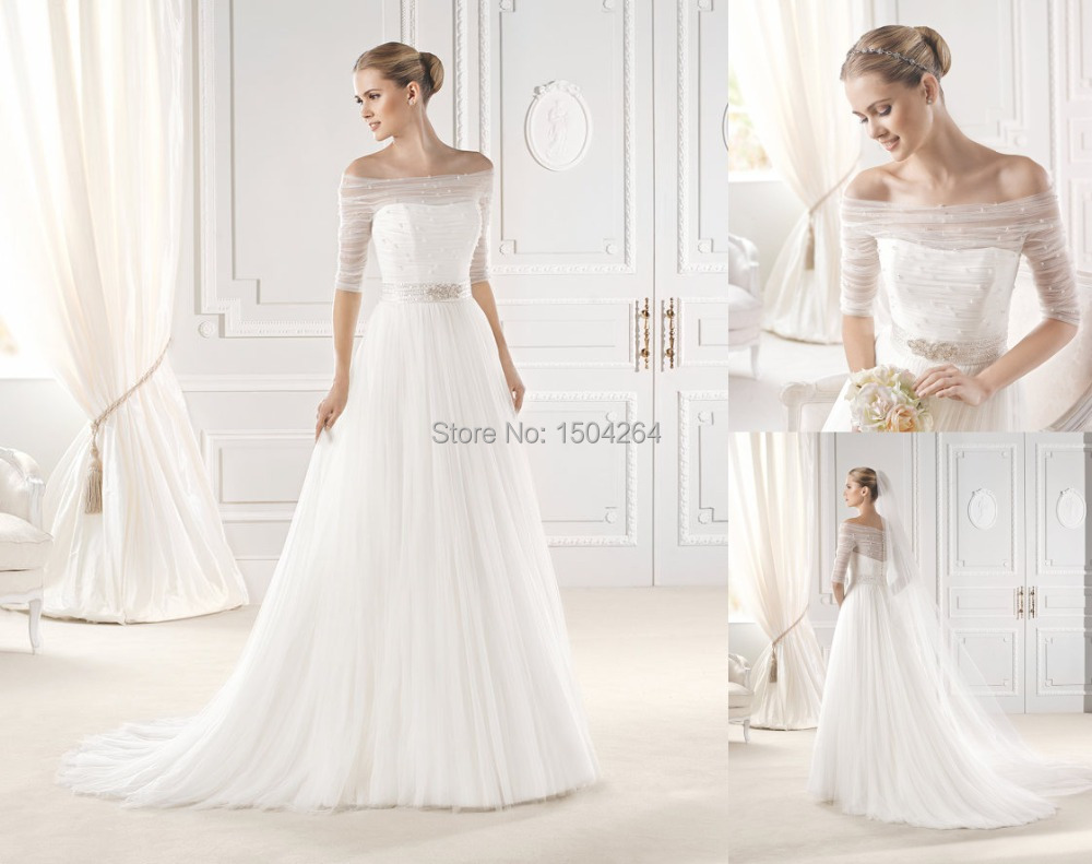 A Line Tulle Simple Wedding Dresses With Beading Off The