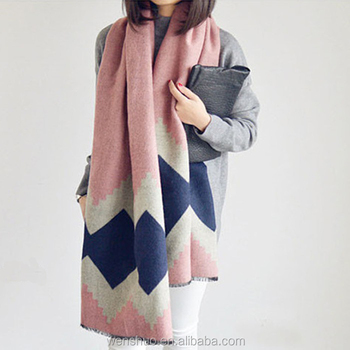 Winter Ladies Fashion Tartan Blanket Women Wool Scarves Wholesale