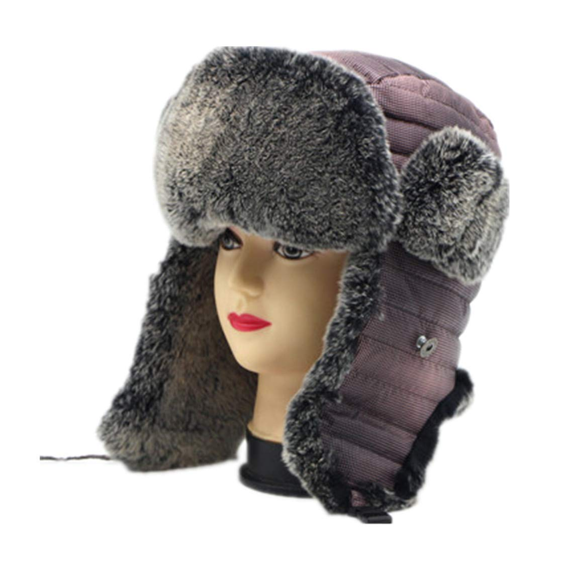 Bomber Hats for Mens Autumn Winter Earmuffs Russian Hot Cap Real Rabbit Fur Hat