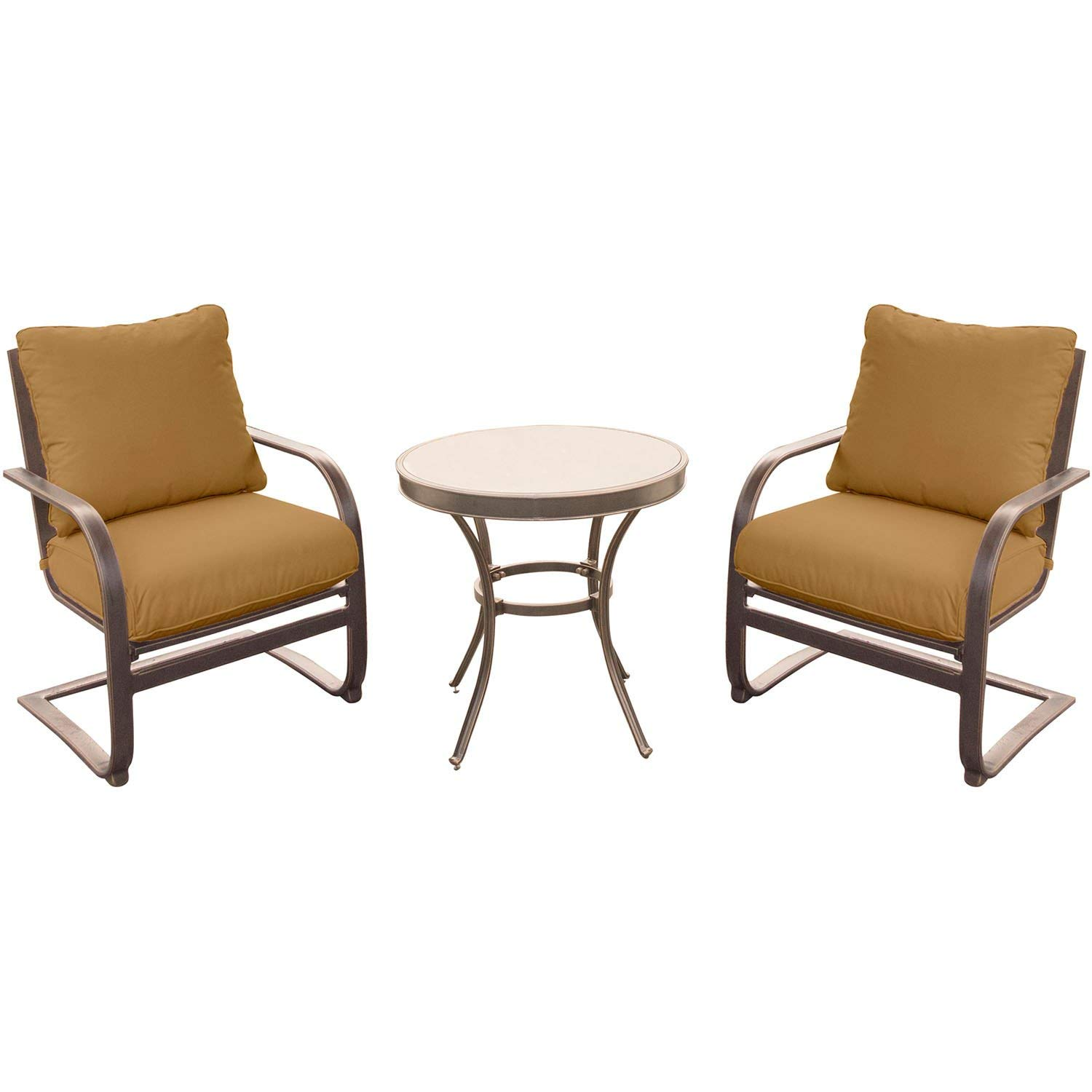 """Hanover Summer Nights 3 Piece Chat Set with 2 C-Spring Chairs and a 30"""" Glass-top Table"""