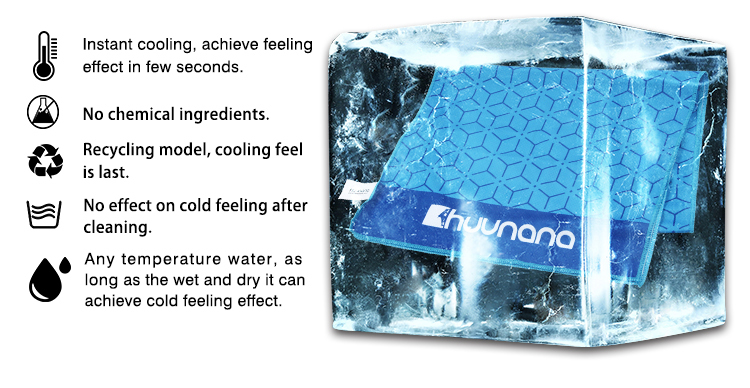 READY TO SHIP High Quality Huunana Washable Chill Towel Breathable Microfiber Cold Sport Snap Towel