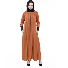 Goede kwaliteit <span class=keywords><strong>geel</strong></span> kleur Crew hals winter <span class=keywords><strong>abaya</strong></span> met sjaal