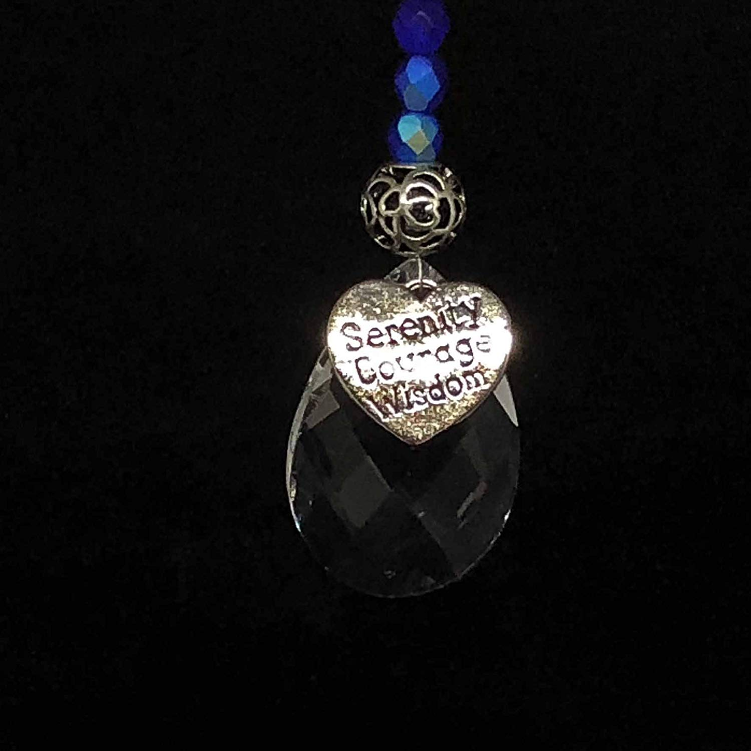 Car Charm Jewelry Accessories Rear View Mirror Hanger ROYAL BLUE with SERENITY COURAGE WISDOM