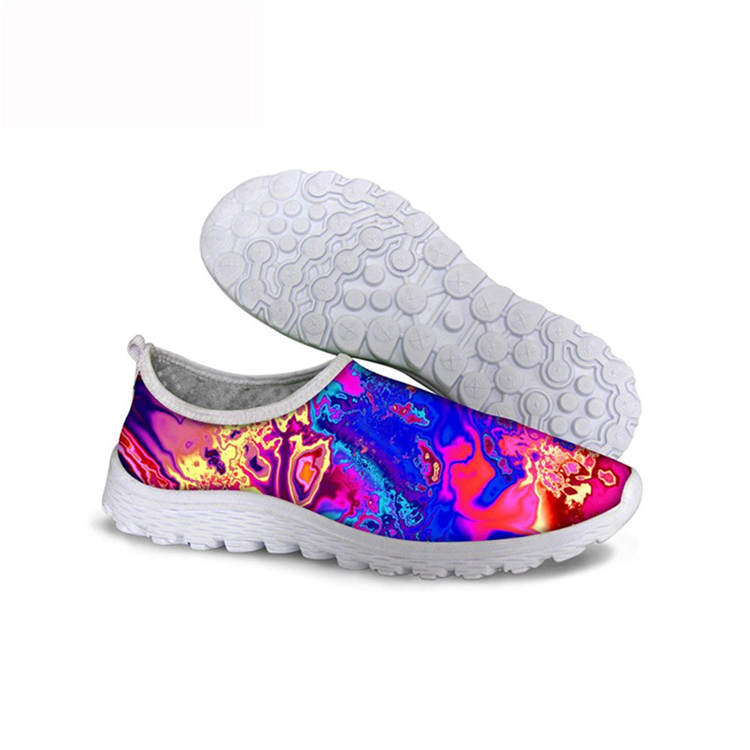 FancyPrint Fashion Print Slip-on Lightweight Walking Shoes Mens Knit Breathable Sneakers