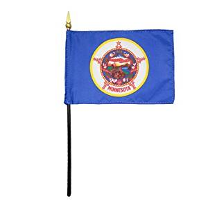 """Minnesota 1957 State Hand Held Desk Table Top Polyester Flag 4"""" X 6"""" on 10"""" Black Plastic Staff with Gold Spear Tip (12 Pack)"""