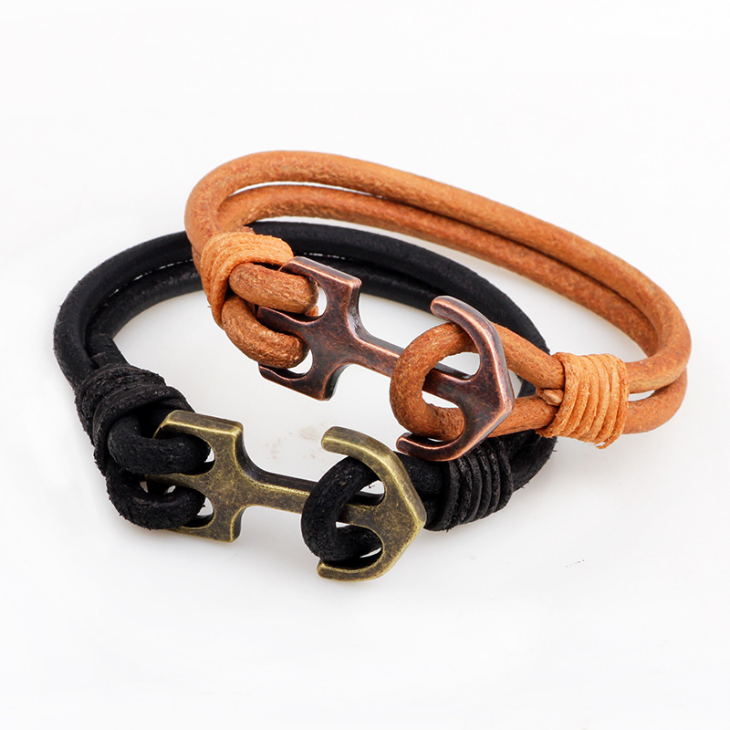 2017 Allibaba com Trend Accesories for Men Leather Rope Anchor Bracelet Bracelet Jewelry