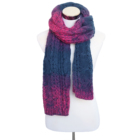 Hot selling fashion winter ladies red and blue gradient designed knitted scarf