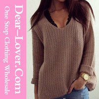 Wholesale Woman Knitted Retro Loose V Neck Cozy Oversized Sweater