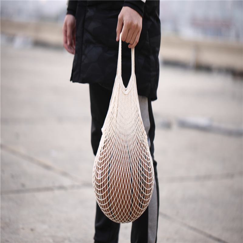 Reusable black 면 mesh bag