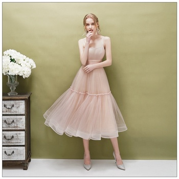 High Quality Pretty Tulle Cheap Simple A-Line Weddings Bridesmaid Dresses Pink