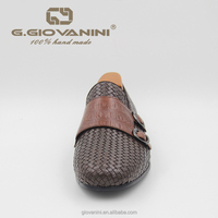 2019 Classic Brown woven leather double buckle Wedding men dress shoes