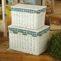 White wicker basket with cotton laundry basket liner and washing basket