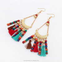Vintage Hollow Fringed Feathers Long Earring For Women Fashion Jewelry India Bohemian Ear rings Earing