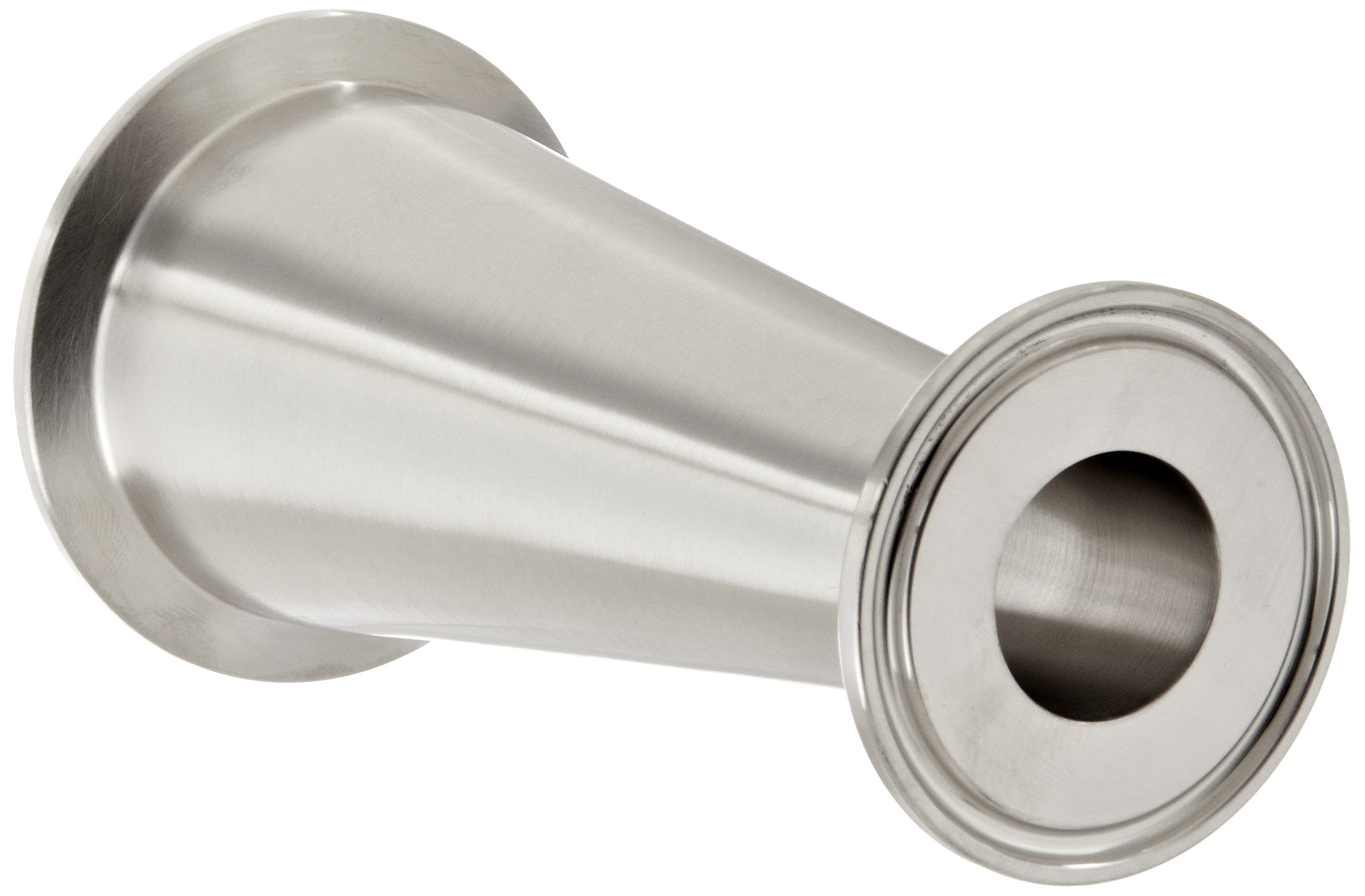 """Dixon B3114MP-G200100 Stainless Steel 304 Sanitary Fitting, Clamp Concentric Red Fiberglassucer, 2"""" Tube OD x 1"""" Tube OD"""