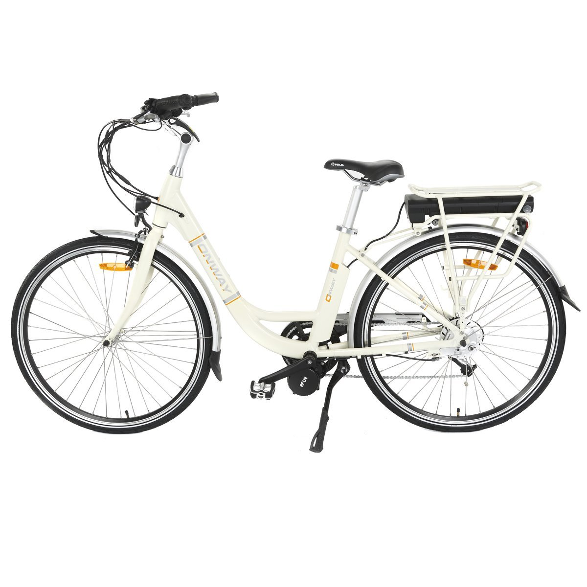 Onway 28 Inch 7 Speed Women City Electric Bike with Pedal Assist, 36V 250W Motor 10.4Ah Sanyo Lithium Battery, 5-Level Assist Electric Bicycle
