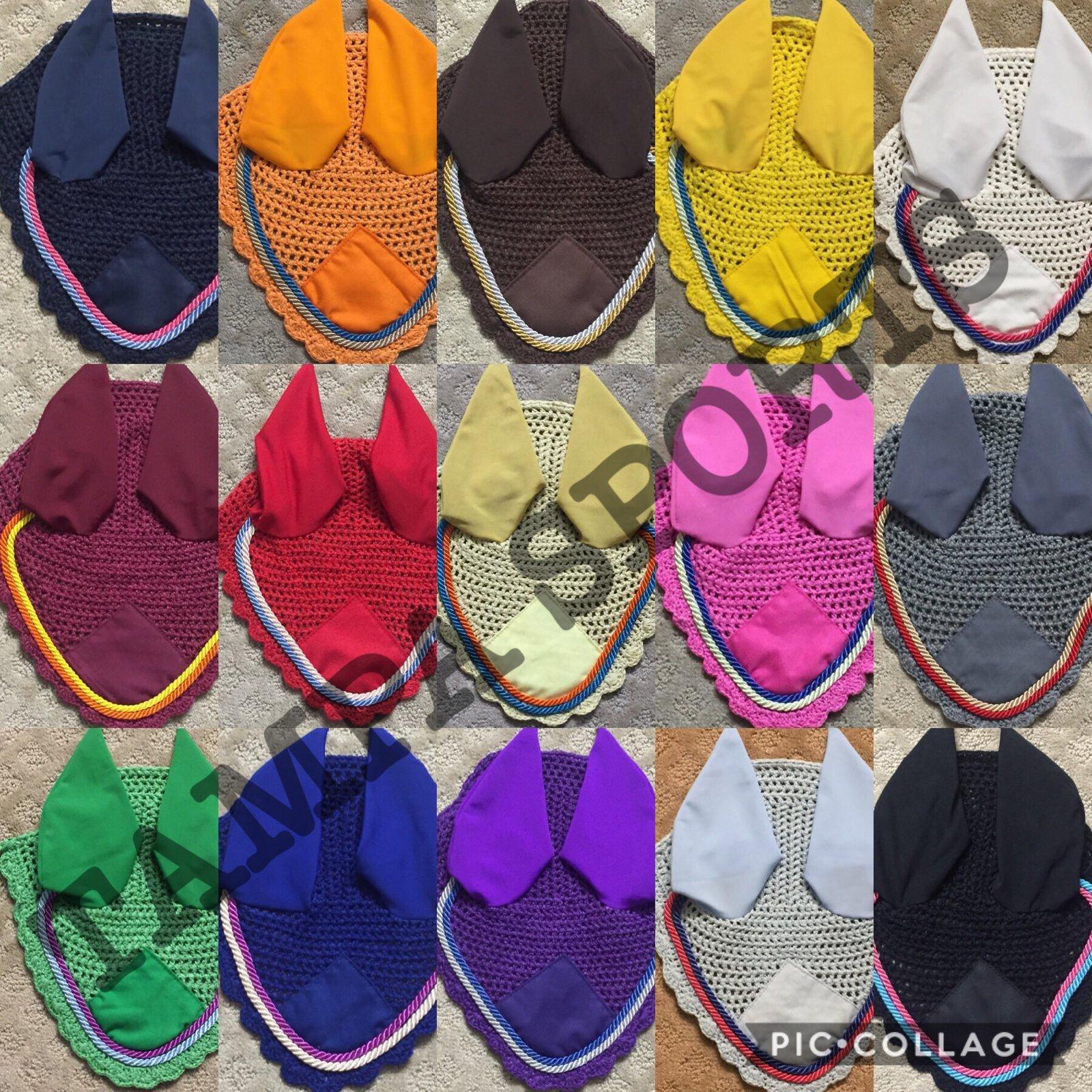 Horse Fly veil Crochet breathable Cotton Ear Net Bonnet//Hood Fly Mask Full /& Cob