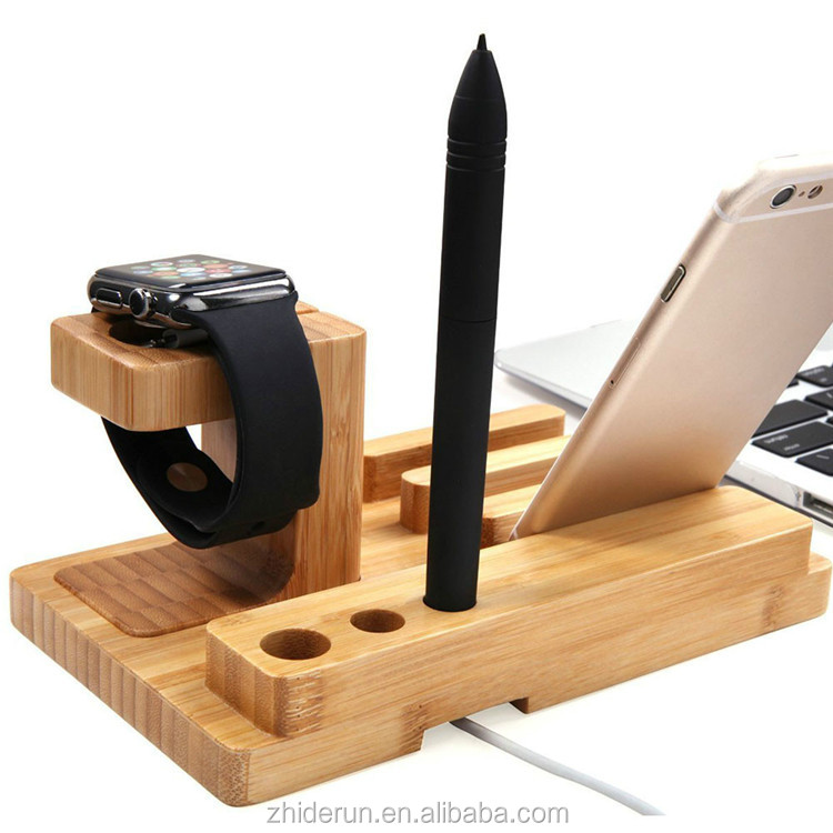 Bamboo Wood Multi-device Charging Station phone stand and Dock Desk Organizer Docking Station