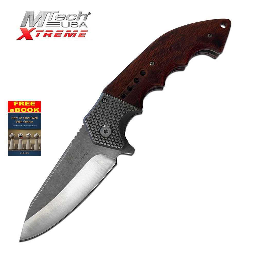 Mtech Xtreme Wood Handle Ballistic Series Spring Assist Assisted Knife #A829SW + free eBook by OnlyUS