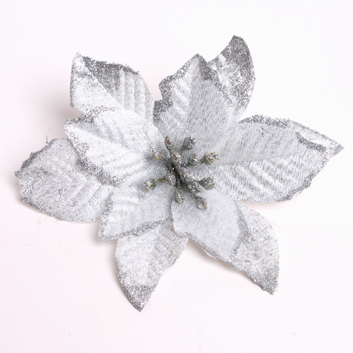 get quotations free shipping 2014 new arrival 10pcslot 13cm silver glitter artificial christmas flowers poinsettia cheap - White Christmas Flower Decorations