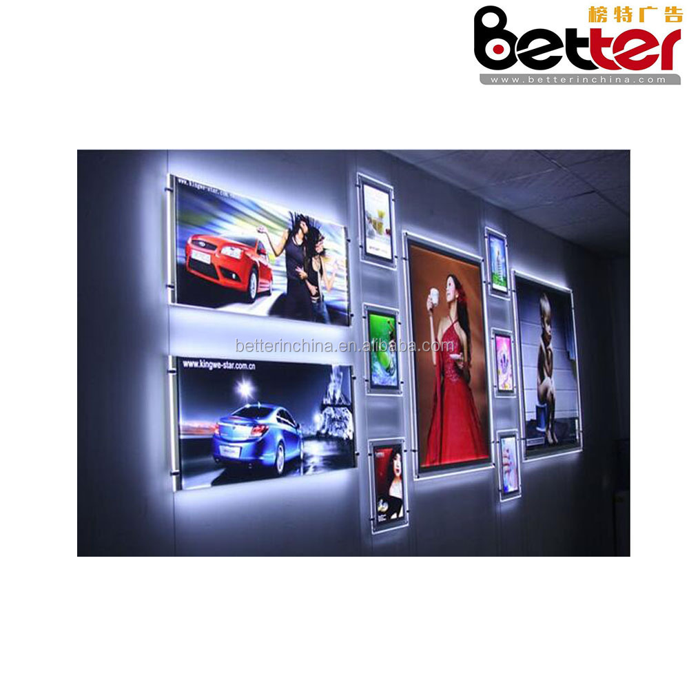 Windows Wall A4 Hanging Crystal Light Box With LED For Real Estate