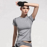 New Sports Short Sleeved T-Shirt Round Neck Yoga Running Women Sport Top Clothes
